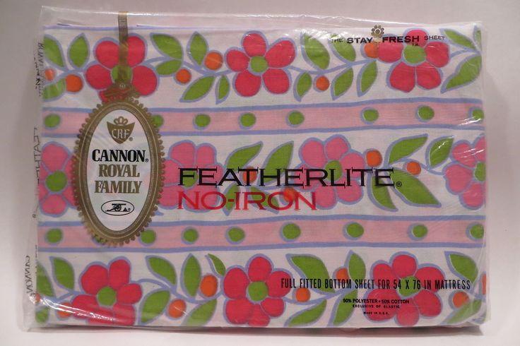Vtg 1960s Cannon Primrose Path Pink Flower Full Fitted Bed Sheet NIP Featherlite  | eBay