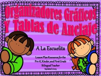 Organizadores Grficos y Tablas de Anclaje***In the process of being updated, changing some clip art, adding more graphic organizers and fixing a few minor details.***Organizadores Grficos y Tablas de Anclaje includes 20 anchor charts and over 50 graphic organizers in spanish.