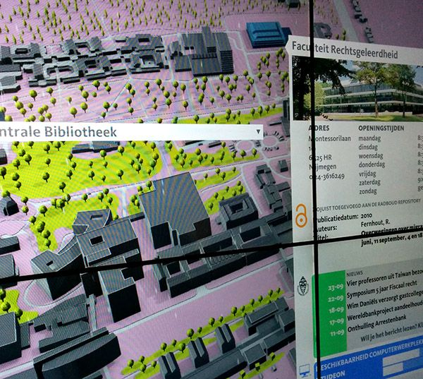 The Radboud University came to us because they were looking for a solution that would make their digital services more visible to the students in the University Library. At Doklab we developed a central data hub that gathers information from a variety of available web services and displays them on an interactive 3D campus map.