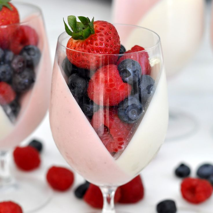 Strawberry and Cream Panna Cotta Fruit Cups