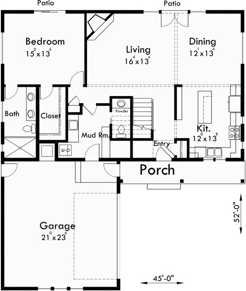 Main floor plan for 10134 house plans master on the main house plans bungalow