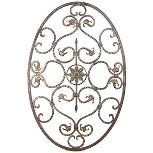 Antique Bronze Metal Oval With Scrolls Wall Decor
