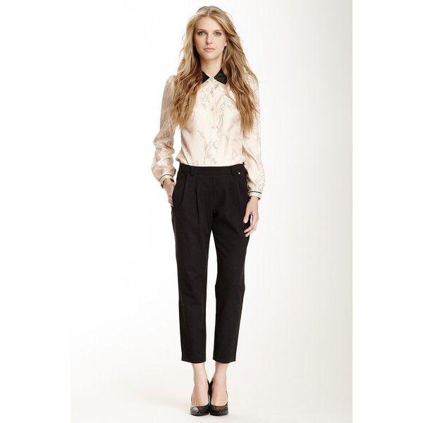 Harlyn Silk Pleated Peg Leg Trouser  size 12 fashion, clothing, pants, black, silk pants, pleated pants, tapered leg pants, peg-leg trousers and peg leg trousers
