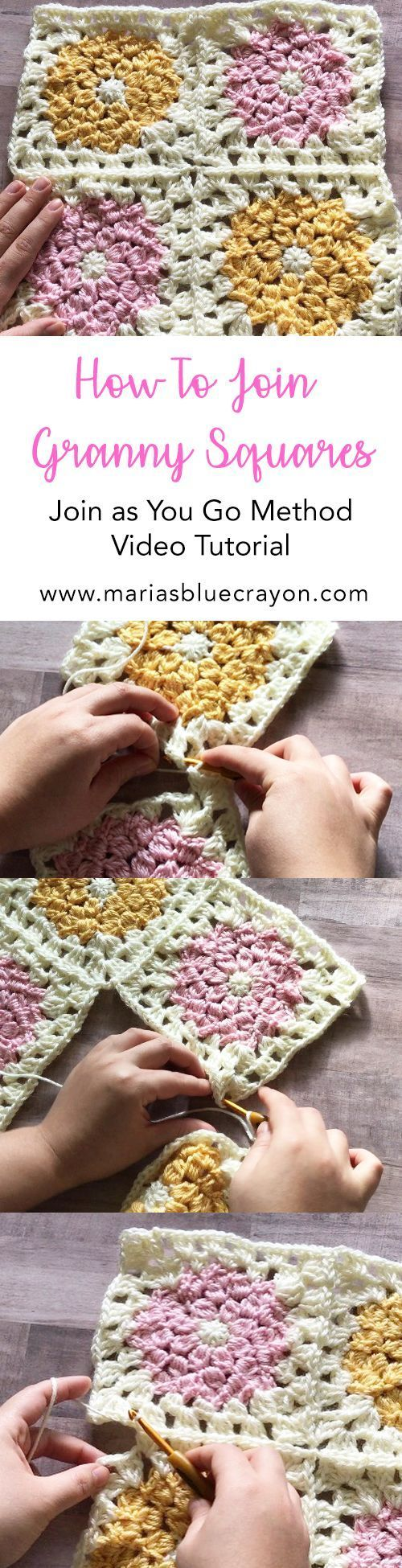 How to Join Granny Squares | Join as you go method | Crochet tip | Sewing together granny squares | Granny Square | Free tutorial #CrochetTutorial