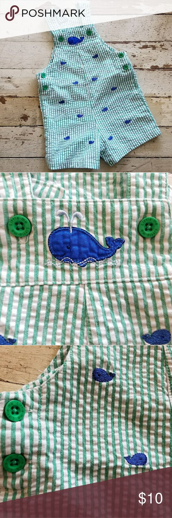 Little Me Whale Outfit This little outfit is so cute!! It is white with green stripes and blue whales. There isn't a tag, so I'm not sure on the size, but I'd say 6-12 months or so. This could be way off since my only reference is my nephews, who were both tiny giants. All buttons are functioning and there are 4 snaps closing the bottom. Little Me One Pieces