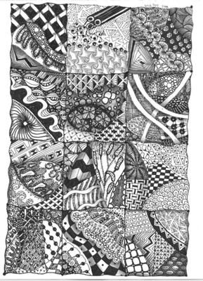 CookiesTangles1_Jul_2010: Zentangle Patterns - Relaxing   My favorite Pens and what was used on this Zendoodle Pattern Fill were my Microns .01 through .08, plus my Koh-I-Noor Rapidograph