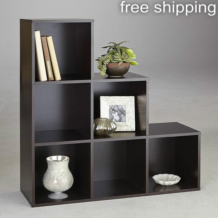 6 Cube Step Storage Unit Shelf Espresso Bookcase Home Office Wooden Organizer…