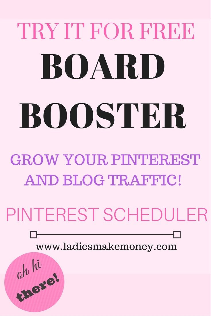 Use Boardbooster to grow your Pinterest, your blog traffic and to schedule all your work. This is an amazing tool that can help grow your online business instantly. Try it for FREE!