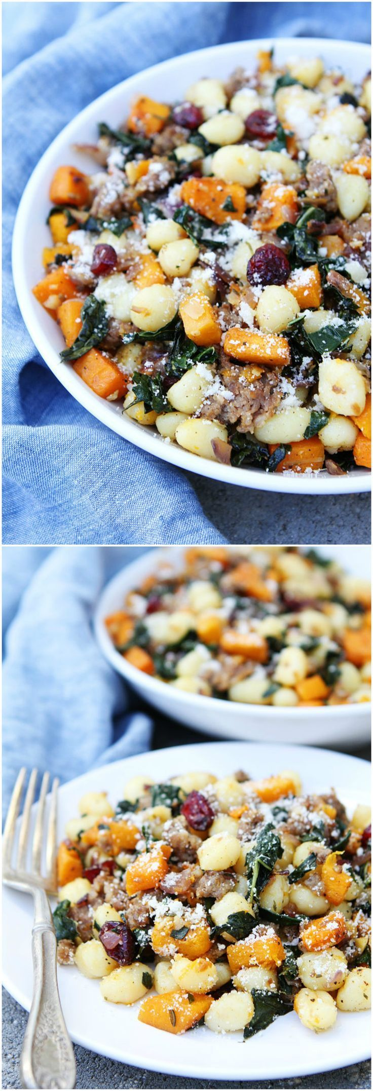 Butternut Squash, Sausage, and Kale Gnocchi Recipe on twopeasandtheirpo... This quick and easy gnocchi dish makes a great fall meal.