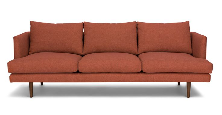 Red sofa 3 seater solid wood legs article burrard modern furniture apartment furniture living rooms and colonial