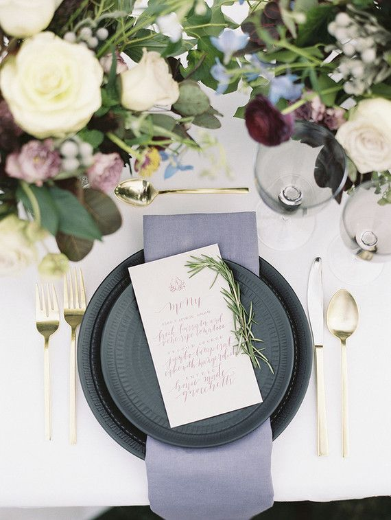 La Tavola Fine Linen Rental: Tuscany White with Tuscany Thistle Napkins | Photography: Krista A. Jones, Venue: Silver Swan Bayside, Styling & Design: Kruse & Vieira Events, Florals: Petal and Print, Paper Goods: Laura Hooper Calligraphy