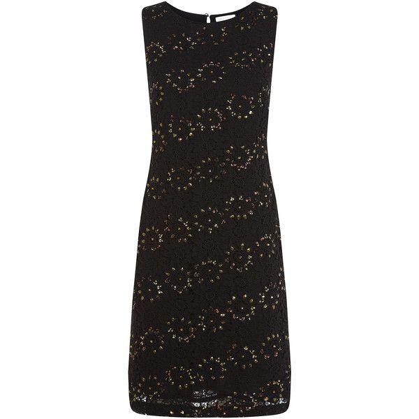Monsoon Sasha Dress (16.820 RUB) ❤ liked on Polyvore featuring dresses, black, flower cocktail dress, knee-length dresses, blossom dress, monsoon dresses and flower lace dress
