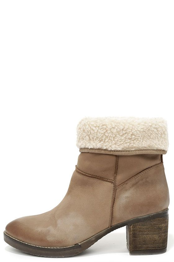 Suede Leather Fold-Over Boots