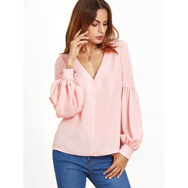SheIn(sheinside) V Neckline Bishop Sleeve Top (€13) ❤ liked on Polyvore featuring tops, pink, pink long sleeve top, stretchy tops, stretchy long sleeve tops, bishop sleeve tops and long sleeve tops