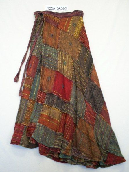N226-SK020 Hippy Skirt~ Ethnic Hippy Patchwork Wrap Around Skirt