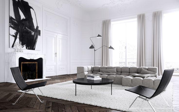 #minimalistic interior, #herringbone floor pattern. Parisian apartment by Jessica Vedel.