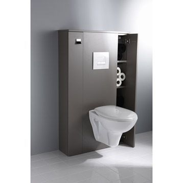 photo meuble wc suspendu coin d 39 o couleur taupe toilettes pinterest meuble wc wc. Black Bedroom Furniture Sets. Home Design Ideas