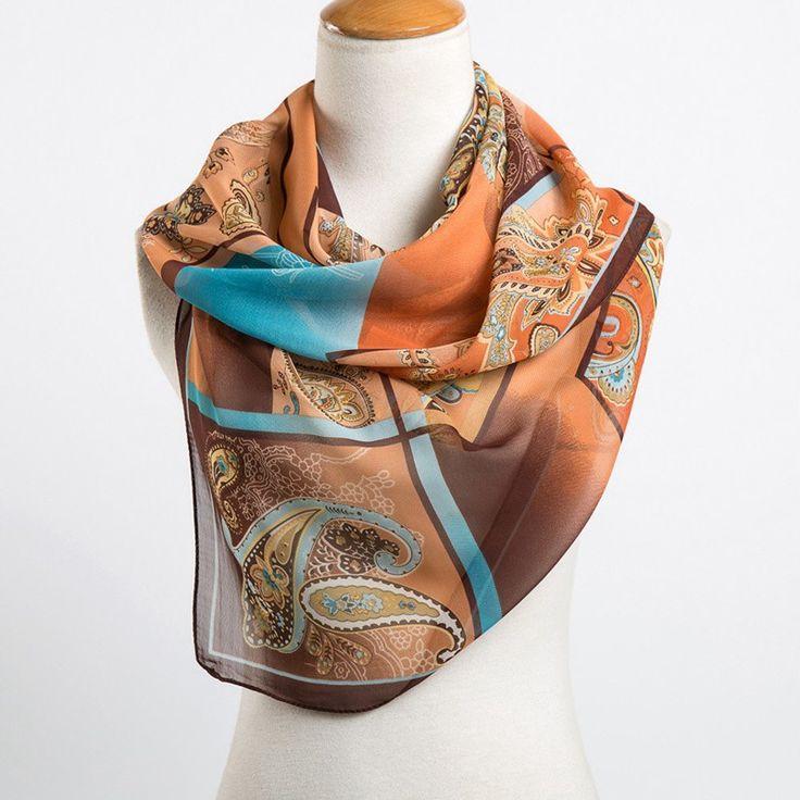 Long Chiffon Silk Scarf 13 Colors