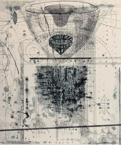 Rosalyn Richards. Descent 2011. Etching 5/15. 11 3/4 x 9 3/4 inches.