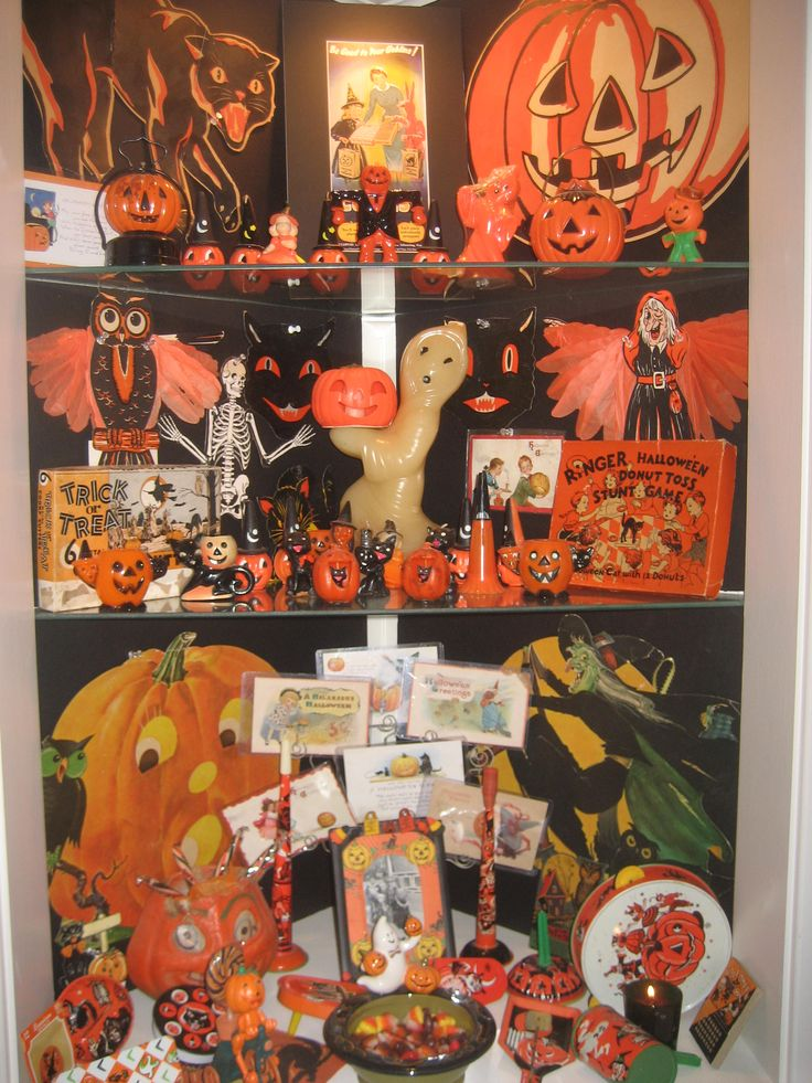 display of vintage halloween decorations