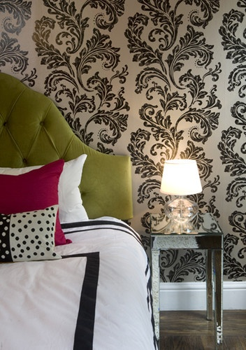 Kate's room idea: white/cream walls with this design on pillows as accents, cream/black bedspread, black furniture (or cream)