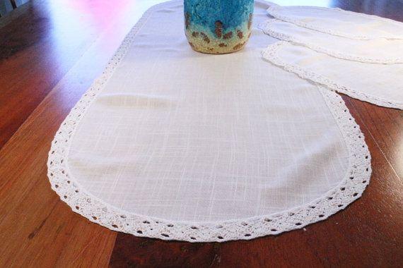 50% OFF SALE:  Linen Table Runner Doily Set by ClockworkRummage