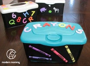 DIY – Craft Storage Container...barely used wipes with my angel but this is so smart for her tons of crayons