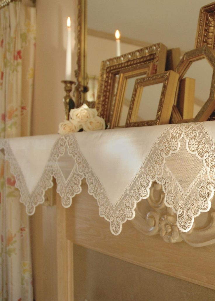 beautiful  versatile  prelude mantle scarf  edged  delicate lace    crisp