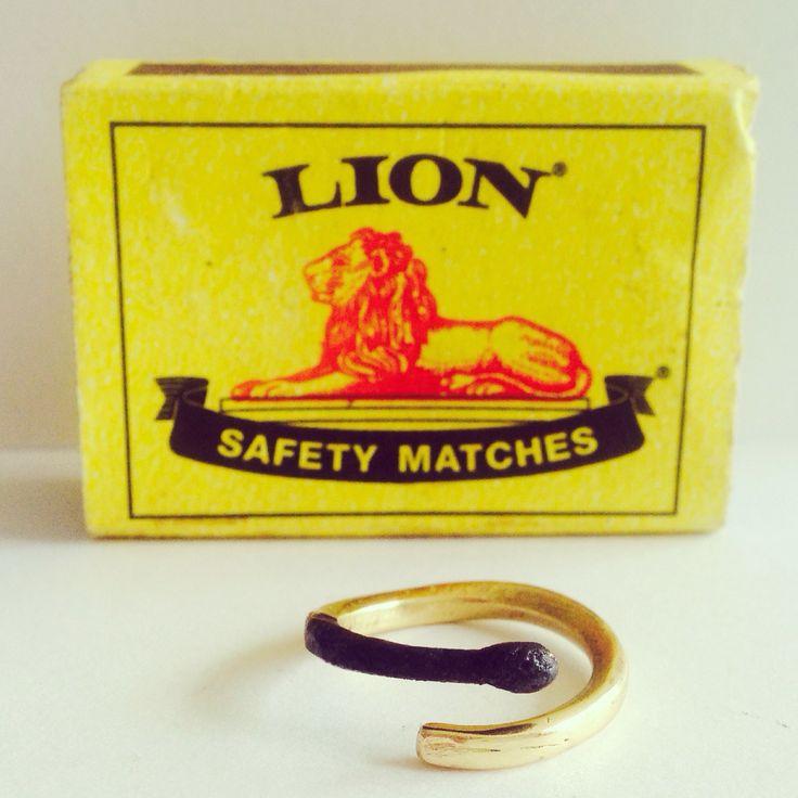 Burnt matchstick ring