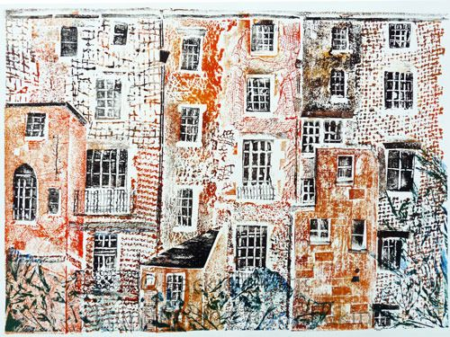 """""""The Backs"""" """" collagraph by Jackie Curtis http://www.jcurtisart.com/ Tags: Collagraphy, Helen Elstone, Buildings, Town."""