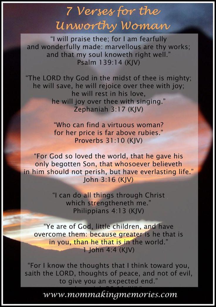 Seven verses for the woman who feels unworthy. www.mommakingmemories.com