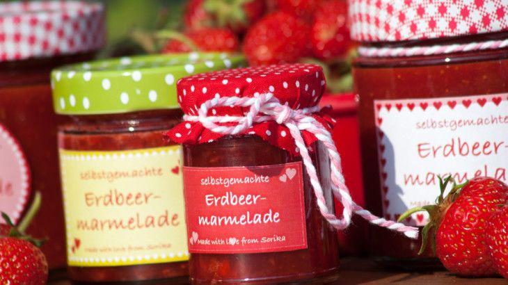 Erdbeermarmelade - Rezept und Etiketten zum Download