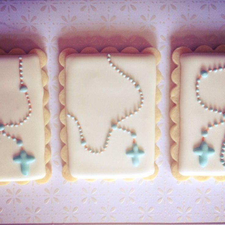 rosary cookies baptism cookies christening cookies sugar cookies baby boy cookies