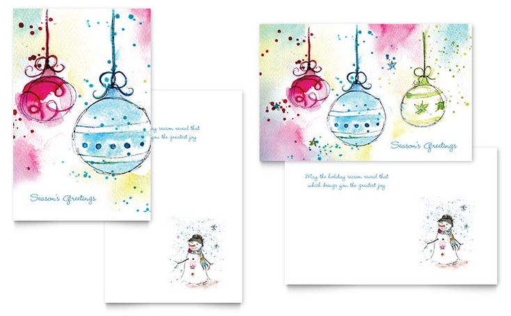 Whimsical Ornaments Greeting Card - Word Template & Publisher Template