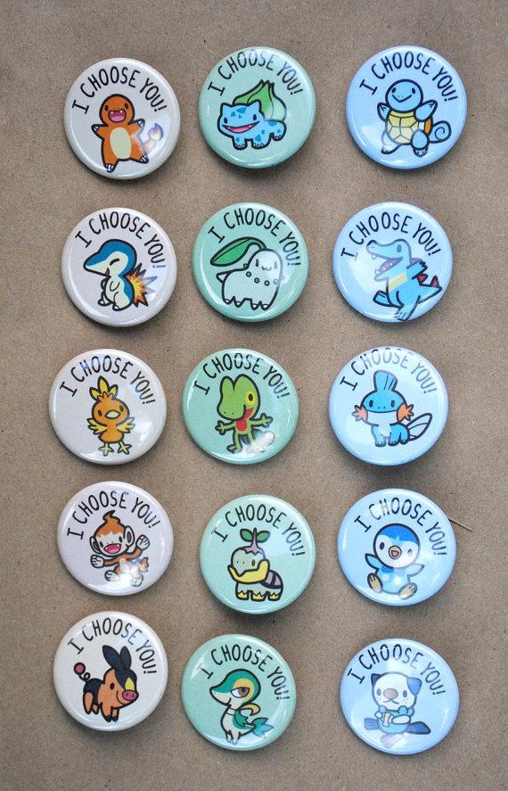 Pokemon Starter Buttons  Full Set of 15 by pookatdinocrafts, $14.00! I WANT!