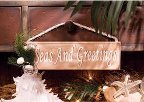 Seas and Greetings Wood Sign