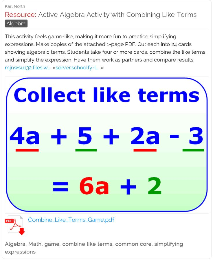 11 best Math - Algebra Like Terms images on Pinterest | School ...