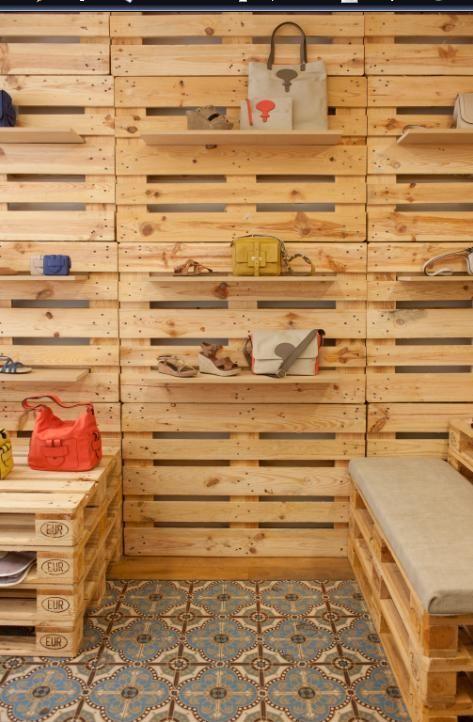decoracin de tienda con palets comercial shop design ideas