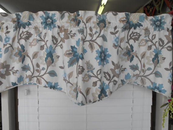 window valance light cream background teal taupe mocha. Black Bedroom Furniture Sets. Home Design Ideas