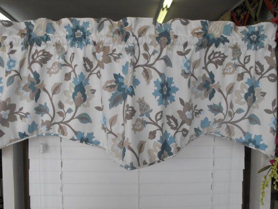 window valance light cream background teal taupe mocha. Black Bedroom Furniture Sets. Home Design Ideas