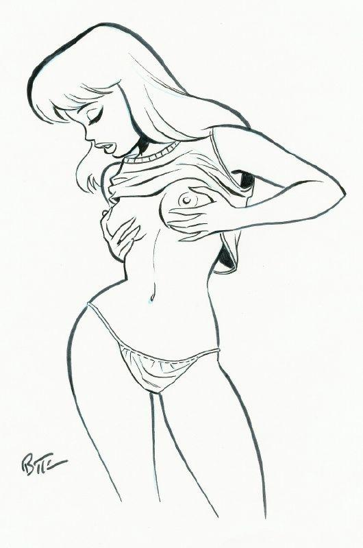 Nude cartoon girl drawing