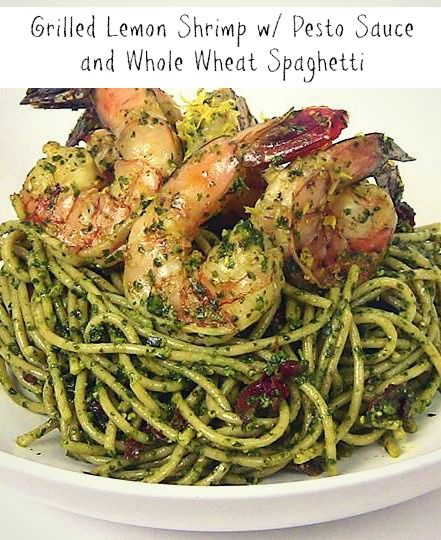 grilled lemon shrimp with pesto sauce and ww spaghetti