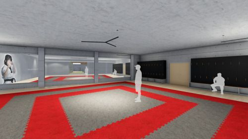 3D sport center- interior perspective render lumion. martial arts, table tennis/ pingpong, park area.