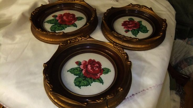 Exquisite 3 piece Petite Point Roses. original Shadow Boxes by ThriftyMidge on Etsy