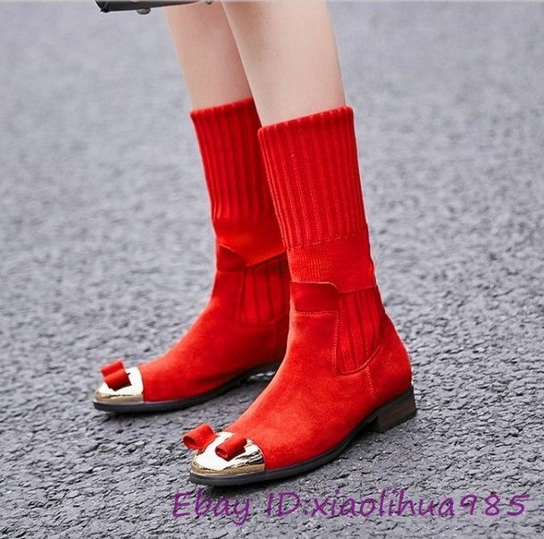 Casual Ladies Matel Sqaure Toe Shoes Stretch Knee High Boots Block Heels