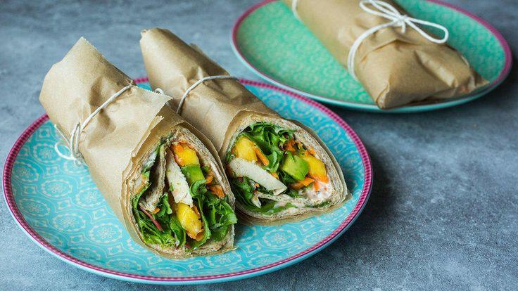 Grove wraps med kylling, mango og avokado