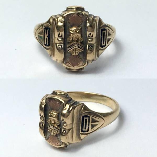 1950's ビンテージ カレッジリング 指輪 10K 金無垢 Jostens製 16号 #Z_画像1