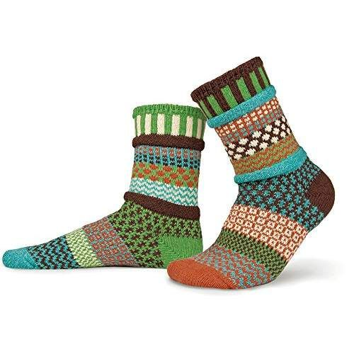 Solmate Socks - Mismatched Crew Socks , Made in USA with Recycled Cotton Yarns