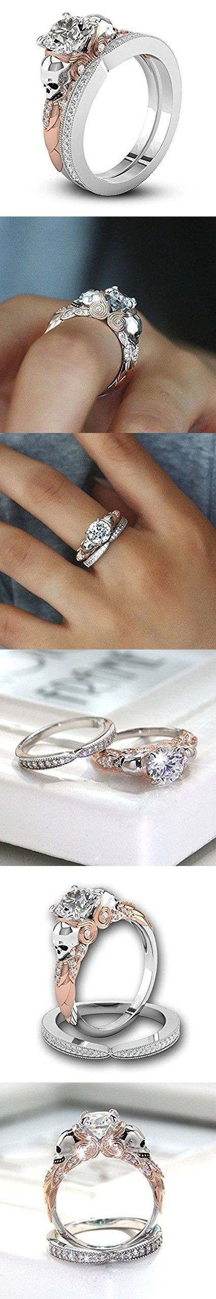 Two Tone Round Cut White Sapphire Skull Promise Ring 925 Silver Women Ring Set#by pimchanok shop (6, White)