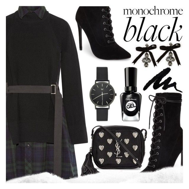 """""""🖤All-Black Outfit"""" by ana3blue on Polyvore featuring Steve Madden, Sacai, Yves Saint Laurent and Dsquared2"""